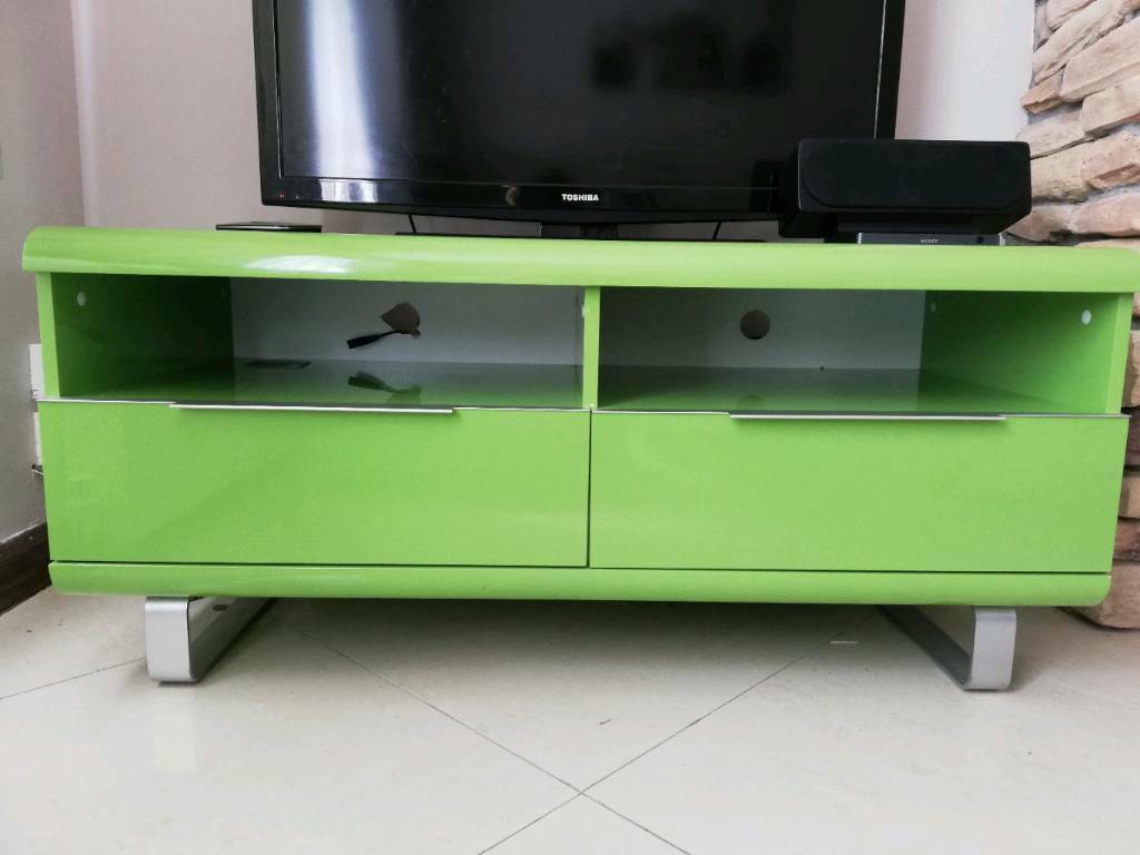 Lime Green Retro Vintage Chrome High Gloss Tv Unit Stand Drawers