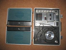 Rare Sanyo G-2615 H, portable briefcase music centre 70's, vintage, decoration, museum,