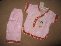 Authentic hand made Chinese girls short sleeve top and cropped trouser for sale