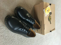 Genuine Dr Marten Shoes. Black with yellow stitching Uni-sex size 6 - style 1461