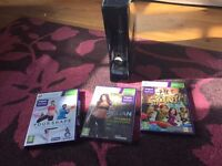 Xbox 360 console and Kinect sensor plus 3 games