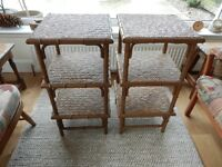 TWO OKA RATTAN SIDE TABLES, EXCELLENT CONDITION