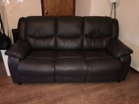 Dark brown leather sofa & matching recliner chair