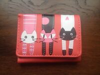 New red purse with 3 cats - nice gift / present for girl or woman