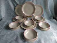 CHURCHILL 18 PIECE DINNER SET PINK RIMS SPECKLED 6 X DINNER PLATES, CEREAL/SOUP BOWLS AND TEA PLATES