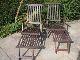 Two wooden steamer style garden loungers - removeable footrests