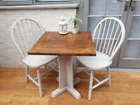 Great Bistro Dining Table, Solid Oak and 2 x Chairs. Chalk Paint. Upcycled/Shabby Chic