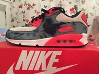 BRAND NEW WITH BOX MENS SIZE UK 9 NIKE AIR MAX 90 BLEACHED WASHED DENIM INFRARED