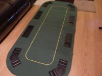 Poker table top folding mat and poker chips in case
