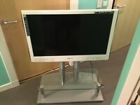 "Hanspree Gloss white 42"" lcd television and big stand, remote etc.."