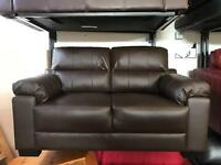 Ex Display brown leather Two Seater sofa