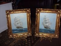 2 x gorgeous brass picture holders with pictures very heavy stands