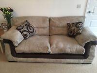 4 peice sofa set Includes 4 seated cuddle corner sofa, 3 seater, foot stool x2