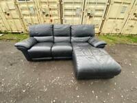 Black leather corner sofa* delivery*