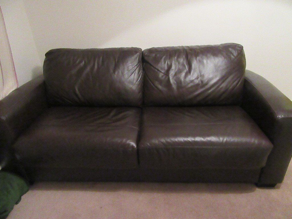 dark brown leather sofa bed from furniture village for sale in ipswich suffolk gumtree. Black Bedroom Furniture Sets. Home Design Ideas