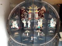 Oriental Black Lacquered screen with mother of pearl design