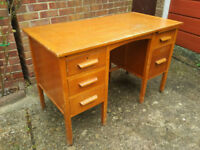 Vintage Mid Century Pedestal Desk Teachers Desk Architects Desk Engineers Desk