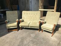 3 1 1 Vintage Look Suite, Small Sofa & Chairs