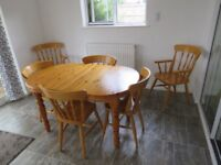 Pine Extendable Table and 4 Chairs,+2 Carver Chairs