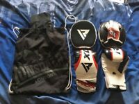 RDX Boxing Punching Mitts Gloves 10 Ounce (oz) and Pads MMA Training Hook Jab Strike Target