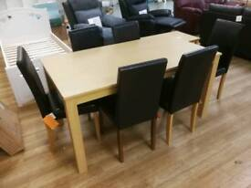 Brand new dining table and 6 leather dining chairs