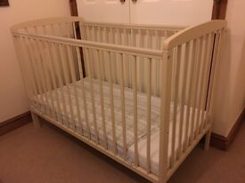 As new timber baby cot and mattress
