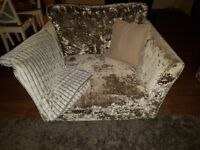Sofology crushed velvet 4 seater sofa with matching love chair