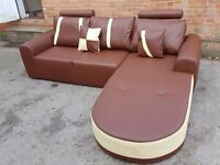 Great BRAND NEW brown and cream leather corner sofa with chase lounge..in the box.Can deliver