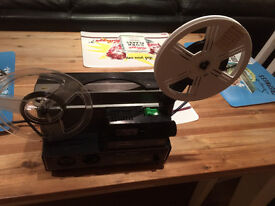 8mm cine film projector with footage of bedford