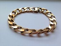 HEAVY SOLID 9K GOLD MENS' CURB BRACELET. Pick up only.