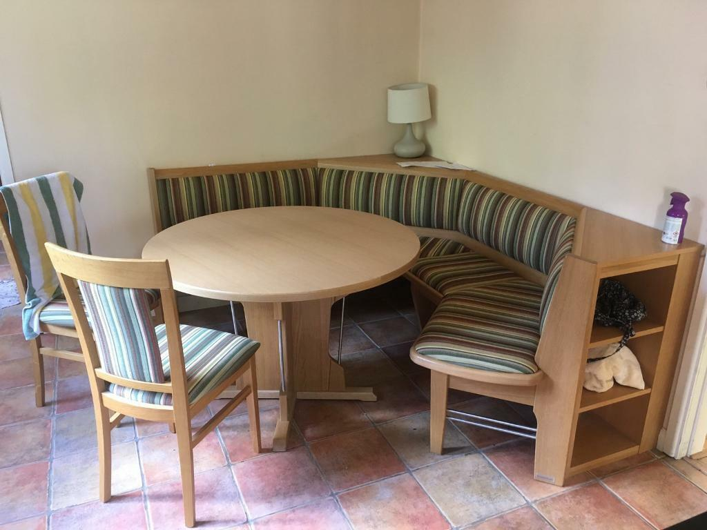 Solid Corner Dining Booth Table And Two