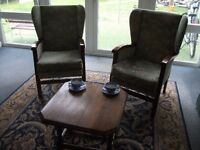 Green Patterned Fireside Chairs