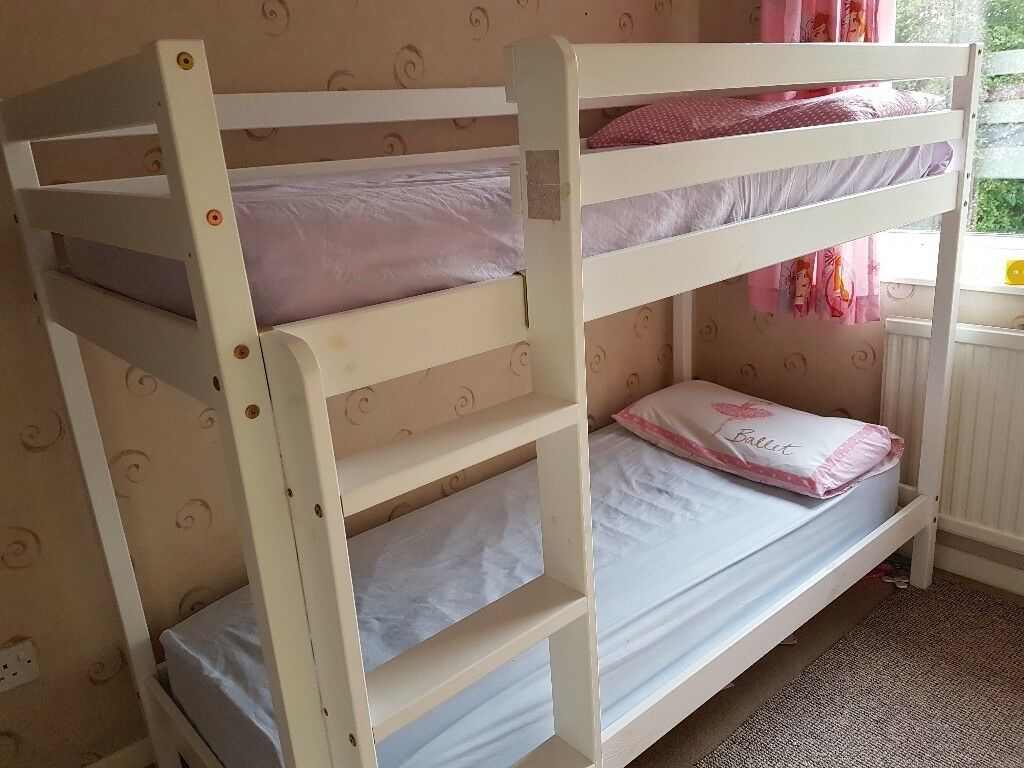 Wooden Bunk Bed Children Kids 2ft6 Shorty White Wtih Two