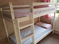Wooden Bunk Bed children Kids 2ft6 Shorty White wtih two mattress included