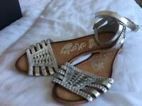 Silver sandals. Size 5.5