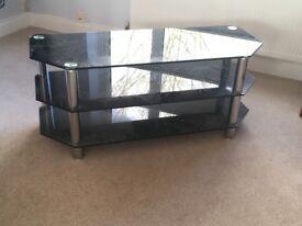 Glass 3 shelf TV corner unit