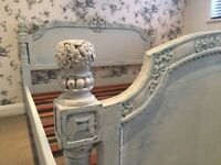 Mahogany wood frame, antique french-style painted ornate carved bed