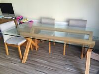 Glass habitat dining table & 4 Chairs