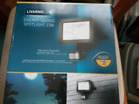 LIDL Livarno Lux Outdoor Energy Saving Garden Security Spotlight PIR Motion Sensor with LED Bulb