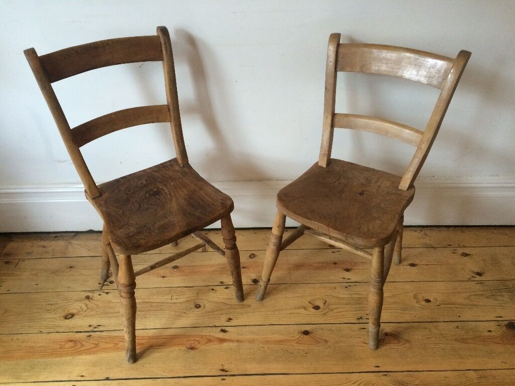 Old antique french farmhouse kitchen dining chairs x 2 for French farmhouse dining chairs