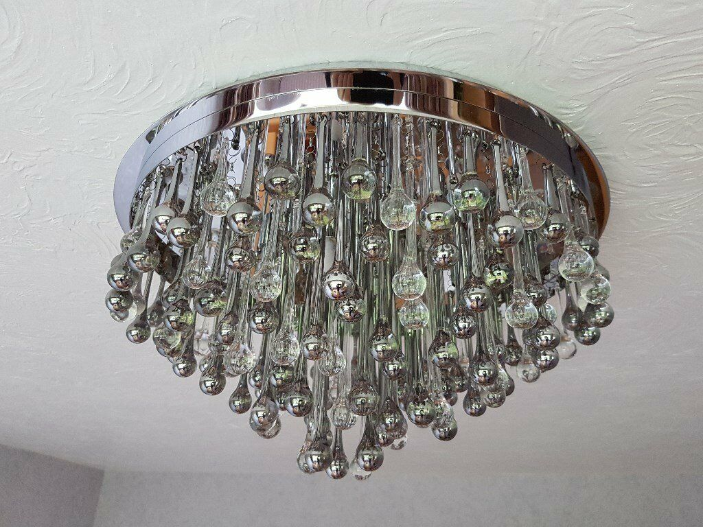 Chandelier - crystal & stainless steel modern design