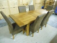 laura ashley solid rustic oak french farmhouse extending dining table & 6 chocolate Buffalo Suede