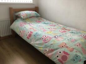 Single pine wooden beds x2