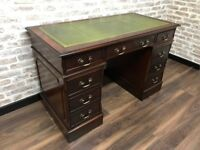 Brown Mahogany Captains Desk with Green Leather Inlay