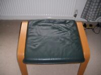 IKEA PINE AND LEATHER FOOTSTOOL