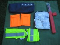 Car/Vehicle First Aid Kit + Warning Triangle, 2 High Visibility Tabards and 2 High Visibil