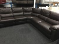 New/Ex Display Leather Reid Apsley Large Electric Recliner Corner Group