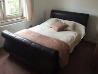 *** LOOK Bargain Stunning Designer double bed frame leather and free mattress ***