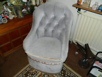 Grey Dralon Button Back Bedroom Chair (Comber) £35