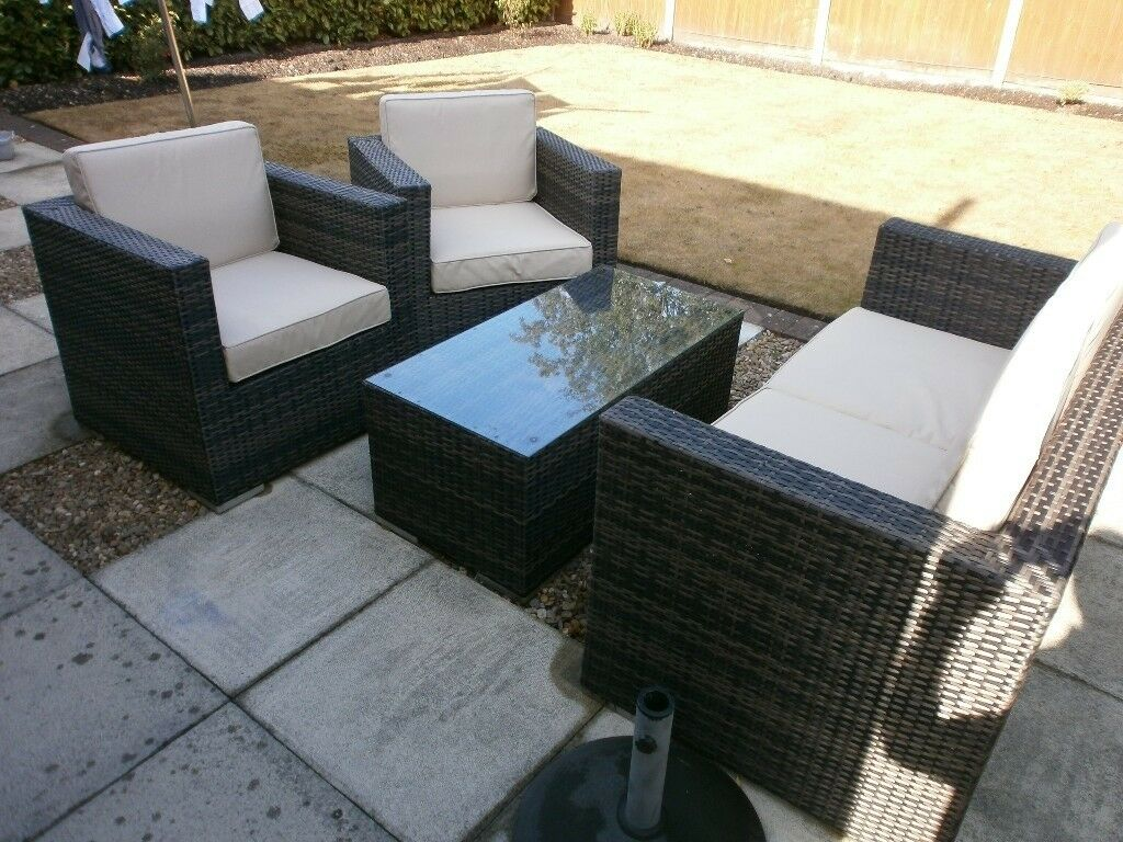 Weather Proof Garden Rattan Furniture Sofa Two Chairs And Table